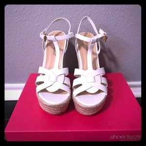 BRAND NEW SHOEDAZZLE white wedges!!